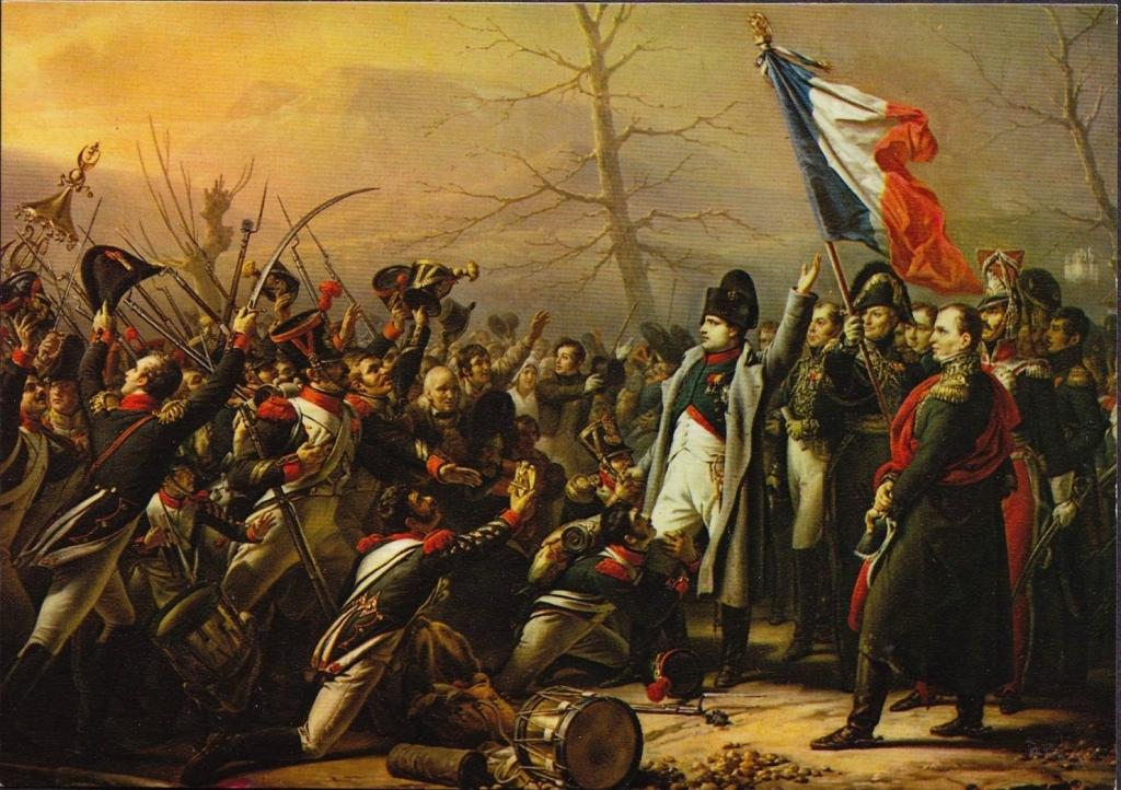 Napoleão encontra sus soldados ao voltar de Elba.