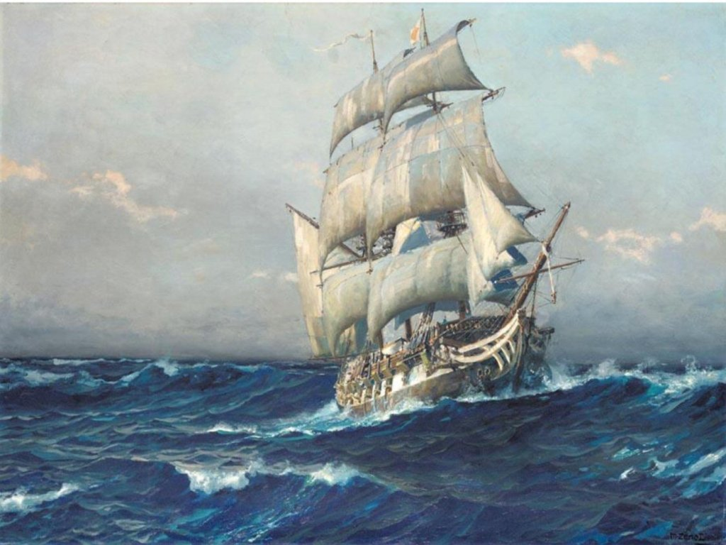 Ship at sea with white sails