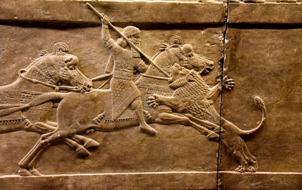 Rei matando um leão.