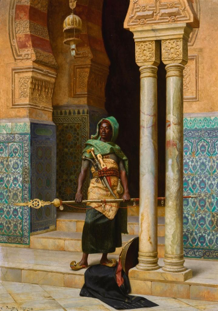 Nubian guarding oriental palace doors.
