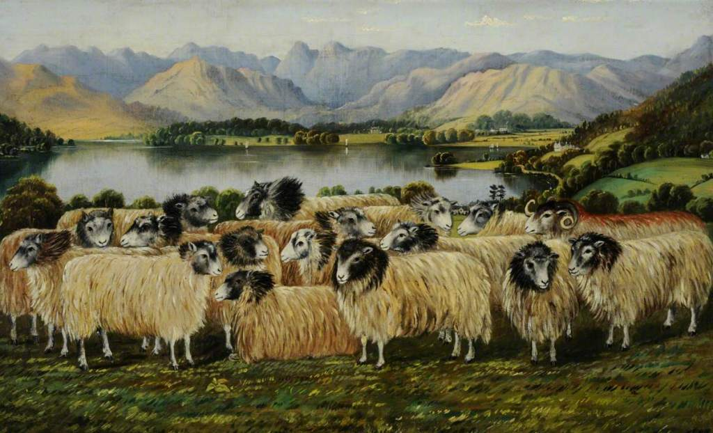 Painting of a flock of sheep by a lake with mountains in the background.